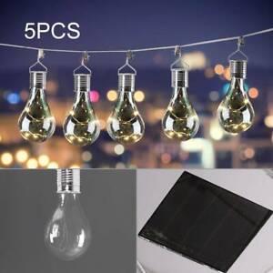 5x Outdoor Solar Powered Hanging Light Bulbs Warm White Garden Decor UK