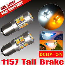 2x Dual Color White/Amber Switchback 1157 5730 20-SMD LED Light Bulbs Tail Brake