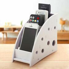 Wooden Air Conditioner TV Remote Control Holder Storage Case Box White UK