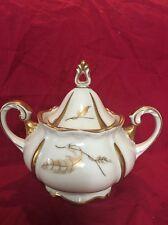Vintage Sorau Carstens Porzellan Sugar Bowl Gold Leaf Design MINT!