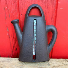 More details for vintage cast iron outdoor garden watering can wall decor weather thermometer a