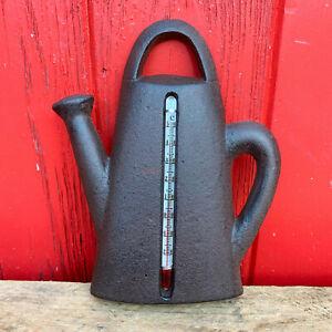Vintage Cast Iron Outdoor Garden Watering Can Wall Decor Weather Thermometer A