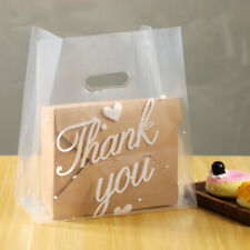 50pcs 3 Size Plastic Packaging Bags Thank You Shopping Bag With Handle Gift Bag