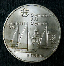 Canada 1973 5  Dollars Olympic Montreal 1976 Kingston Sailboat. Silver coin UNC