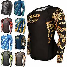 VELO BJJ Rash Guard Long Sleeve MMA Jiu Jitsu Compression Shirt Mens Boxing