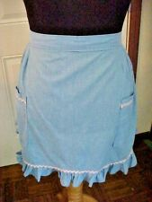 Womens Handmade Apron Size Large Blue Pink Rick Rack Two Pockets Ruffled Hemline