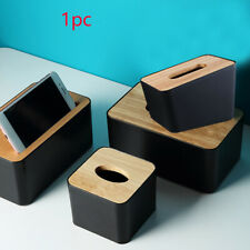 Seat Tyle Tissue Box Decoration Canister Wooden Cover Cotton Pads Home Black
