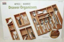 Newseville Expandable Bamboo Drawer Organizer Tray Set 4 piece, Kitchen Bathroom