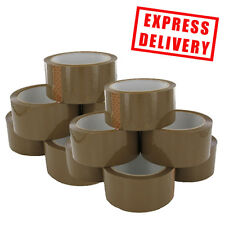 12 ROLLS OF STRONG BROWN BUFF PARCEL TAPE PACKING 50M (2 INCH) PACKAGING BOXES
