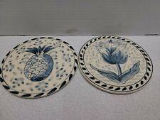 "Set Of 2 Vintage Ceramic White Blue Round Trivets Pineapple Tulip 6"" Diameter"