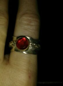 Vintage Mens Sterling Silver 925 BAND RUBY Ring Sz 8-8.5 UNISEX