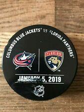 Florida Panthers Columbus Blue Jackets Game Used Warm Up Puck 1/5/19 NHL