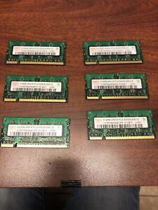 LOT OF 6 HYMP564S64CP6-Y5 HYNIX LAPTOP MEMORY 512MB PC2-5300S-555-12