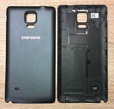 Orig. Samsung Galaxy Note 4 N910F Coperchio Per Batteria Nero Sguardo cuoio