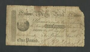 DERBY BANK  £1  1811   PROVINCIAL NOTE  O.673d