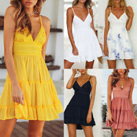 Boho Floral Summer Women V Neck Party Evening Beach Short Mini Dress Sundress