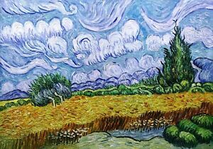 A Wheatfield, with Cypress Oil Painting Reproduction Canvas by Vincent van Gogh