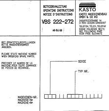 Kasto Bügelsäge VBS272 Bedienungsanleitung