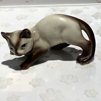 Vintage Siamese Cat Kitten Figurine Japan Mid Century Ready To Pounce - Crazing