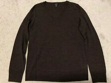 Talbots Brown Merino Wool V Neck Pullover Long Sleeve Sweater Small Petite New