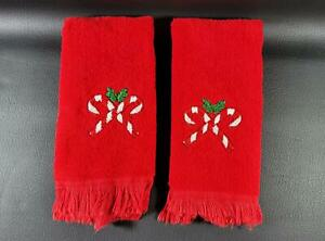 Set of 2 Fieldcrest Red Fingertip Hand Towels Candy Cane Embroidery Christmas