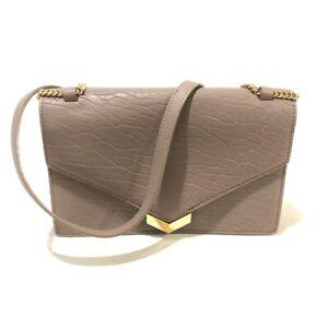 JIMMY CHOO Chain Leila Shoulder Bag Light Mocha x GoldHardware Leather GNL163