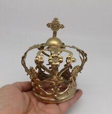 ANTIQUE HOLY CROWN HALO GOLDEN BRASS FOR MADONNA VIRGIN SAINT A-1