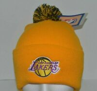 Los Angeles Lakers Yellow NBA cuff Knit Beanie Toque Hat Pom Top New By Adidas