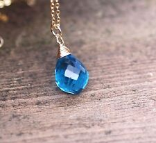 Swiss Blue Topaz Pendant 14K Gold Filled Wire Wrapped Briolette 4th Anniversary