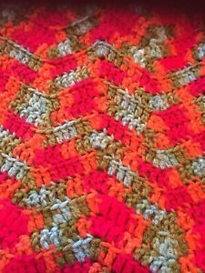 Bright Colorful Hand Crafted Crocheted Throw Done In A Chevron Pattern