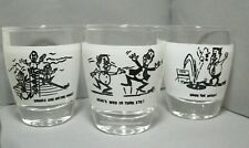 Souvenir Shotglasses with Comical Sayings & Illustrations - Set of 3