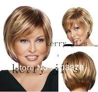 Natürliche Braun Blond Mix Glatt Kurz Perücke Mode Sexy Wie Echthaar Dame Wig