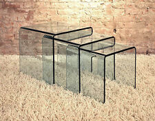 """Glass Waterfall Sofa End Tables - Nest Of Three 16.5"""" h"""