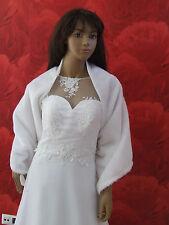 NEW Ivory/White Faux Fur Shawl Jacket Wrap Shrug Bolero Cape Bridal Wedding