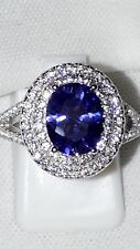 925 STERLING SILVER SIMULATED DIAMOND TANZANITE  ENGAGEMENT  RING UK L USA6