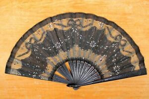 """Antique Victorian Ebony Wood And Black & Silver Lace Hand Fan 8"""" x16"""" Opened"""