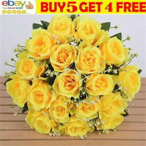 18 Heads Silk Rose Artificial Flowers Fake Bouquet Wedding Home Party DecJJ