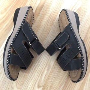 Women Wide Orthopaedic Diabetic Slip on Soft Cushion Mule Sandal Wedge Shoe Size