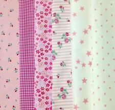 Lot de 6 coupons de tissu 40 x 40 cm coton rose