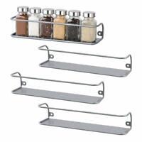NEX Wall Mount Spice Racks Can Holder Organizer Kitchen Storage - Set of 4