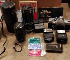 Minolta SR-1 w/ Lens Tele ROKKOR-MC f/3.5 200mm & ROKKkOR 135mm 3.5/ flash