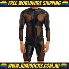 Leather & Mesh Bodysuit - Fetish, Gay, Rubber *FREE WORLDWIDE SHIPPING*