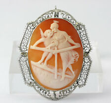 gold filigree cherub & angel shell! Antique cameo pin pendant brooch 14K white