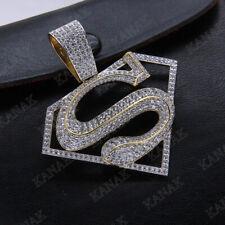 Men's Real 10k Yellow Gold 1.50 Ct D/VVS1 Diamond Superman Logo Charm Pendant
