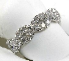 Round Diamond Criss Cross X Weave Lady's Ring Band 14k White Gold 1.06Ct