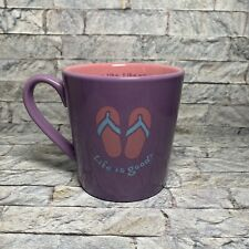 Life is Good Purple Blue Pink Flip Flops Diner Mug Coffee Tea Cup
