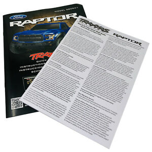 Traxxas Ford Raptor Model 58094-1 Quick Start Guide Manual Pack New