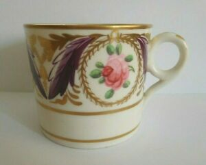 ANTIQUE MINTON COFFEE CAN WITH SEVRES STYLE MARK WITH PINK ROSE DECOEATION