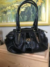 FOSSIL Fifty Four Black Leather & Patent Small Satchel Shoulder Handbag Bag