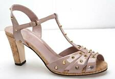 GUCCI Womens Taupe Patent-Leather Gold-Studs Strappy Cork-Heel Sandals 9-39 NEW